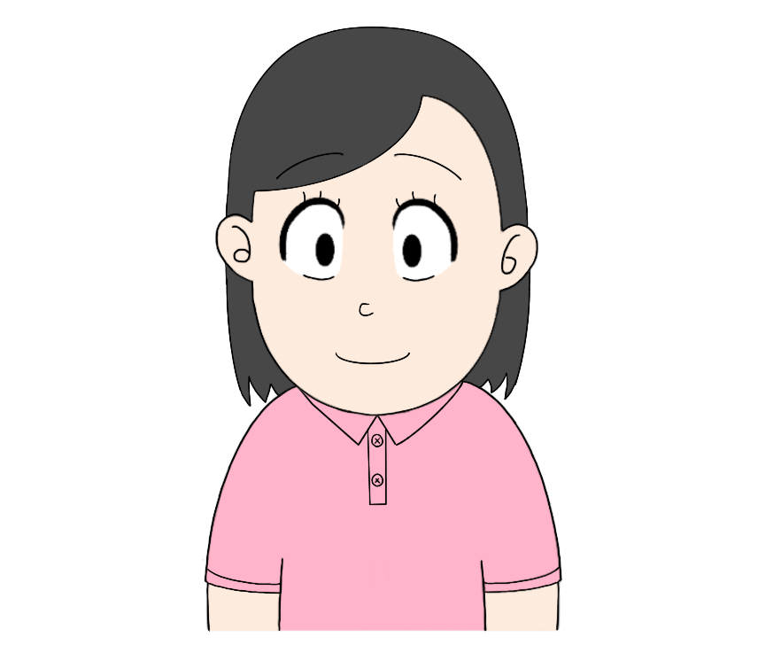 ピンクポロシャツを着た女性のイラスト