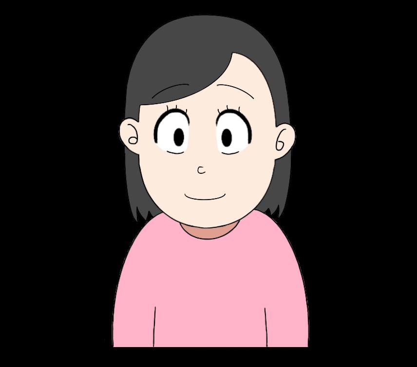 真顔の女性のイラスト