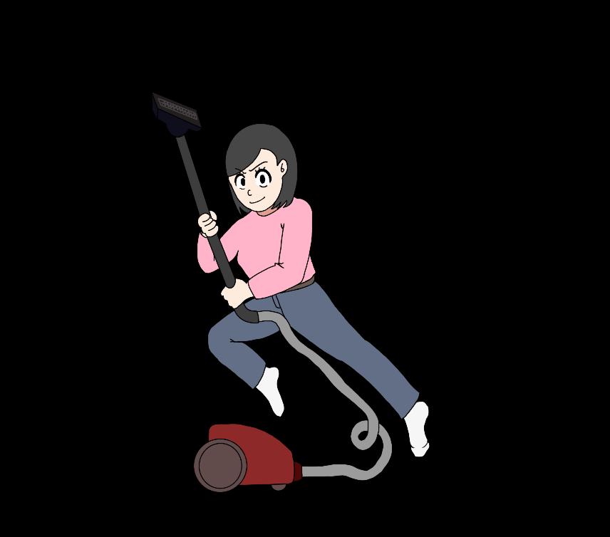 掃除にやる気の女性のイラスト