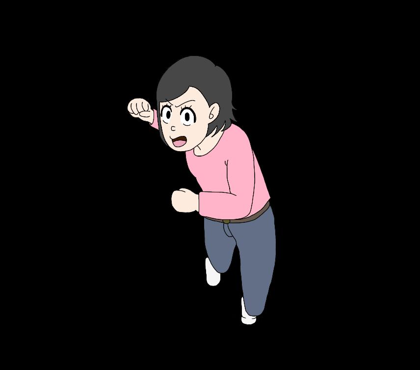 殴りかかってくる女性のイラスト