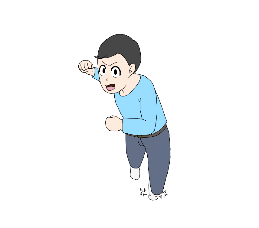 殴りかかってくる男性のイラスト