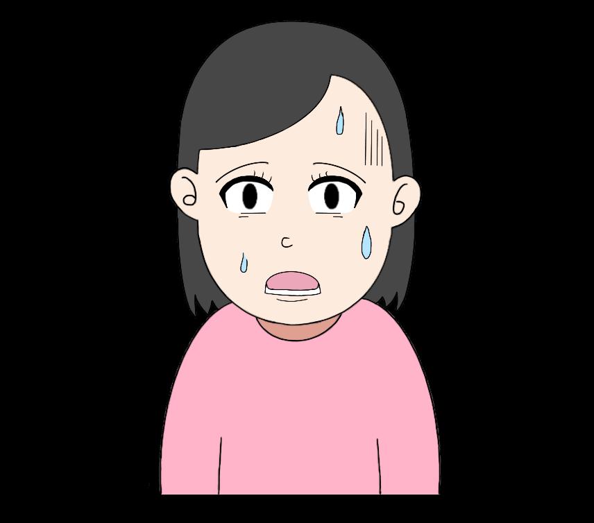 汗呆れの女性のイラスト