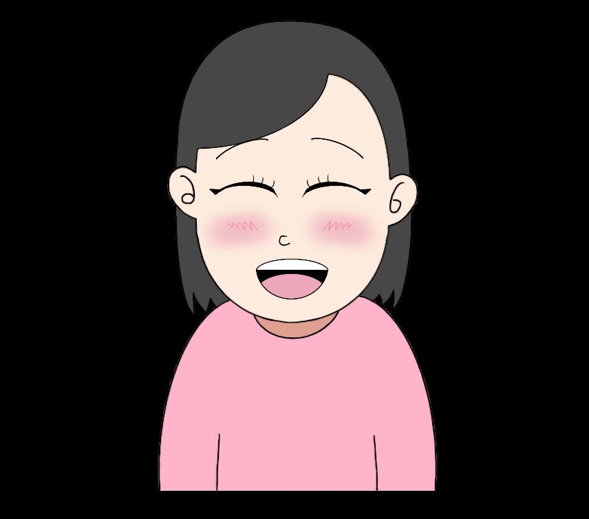 照れ笑いの女性のイラスト1