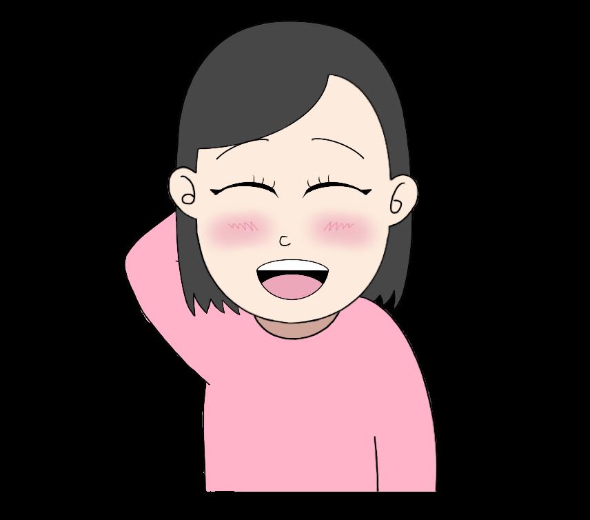 照れ笑いの女性のイラスト2