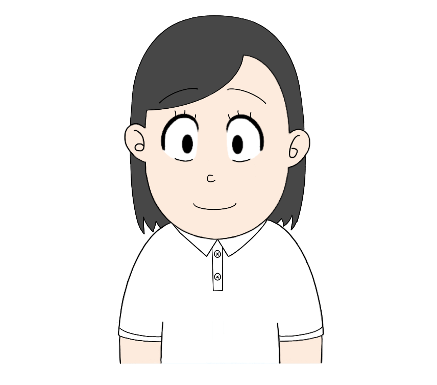 白ポロシャツを着た女性のイラスト