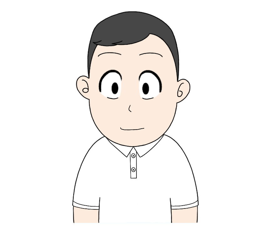 白ポロシャツを着た男性のイラスト