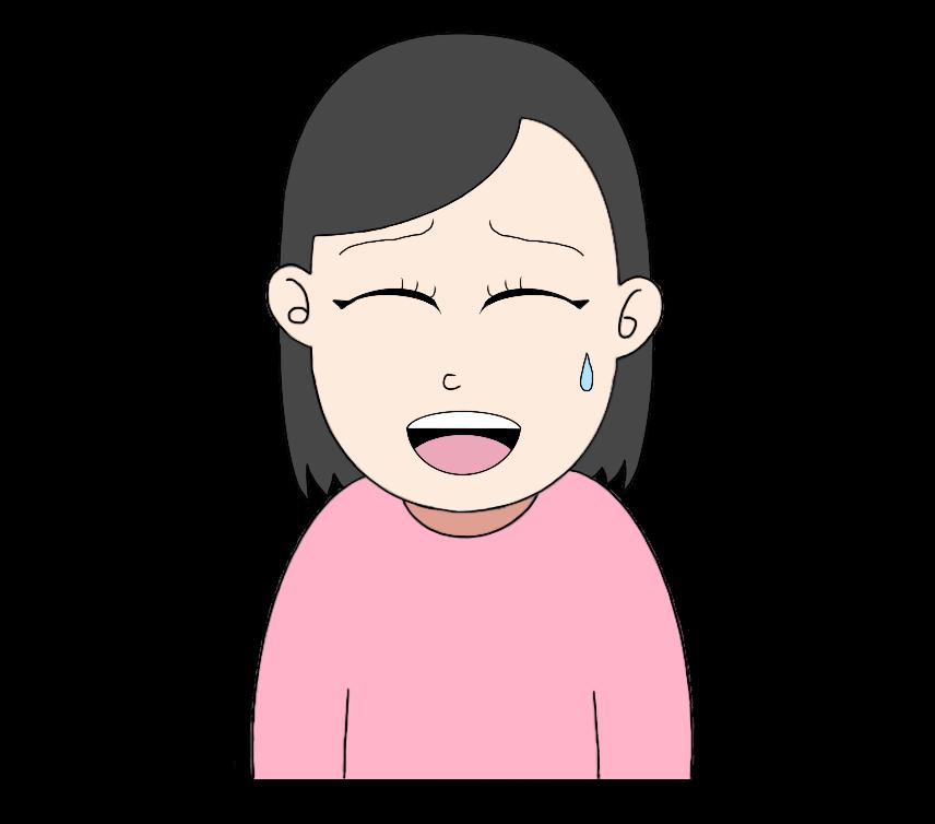 苦笑いの女性のイラスト