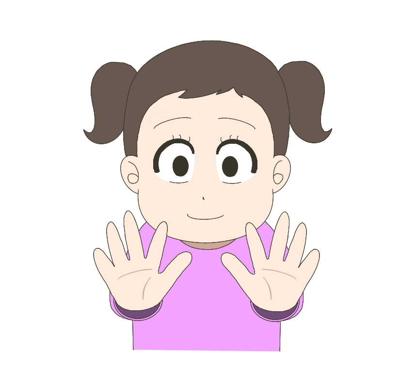 手が綺麗になって喜ぶ子供(女の子)のイラスト 1