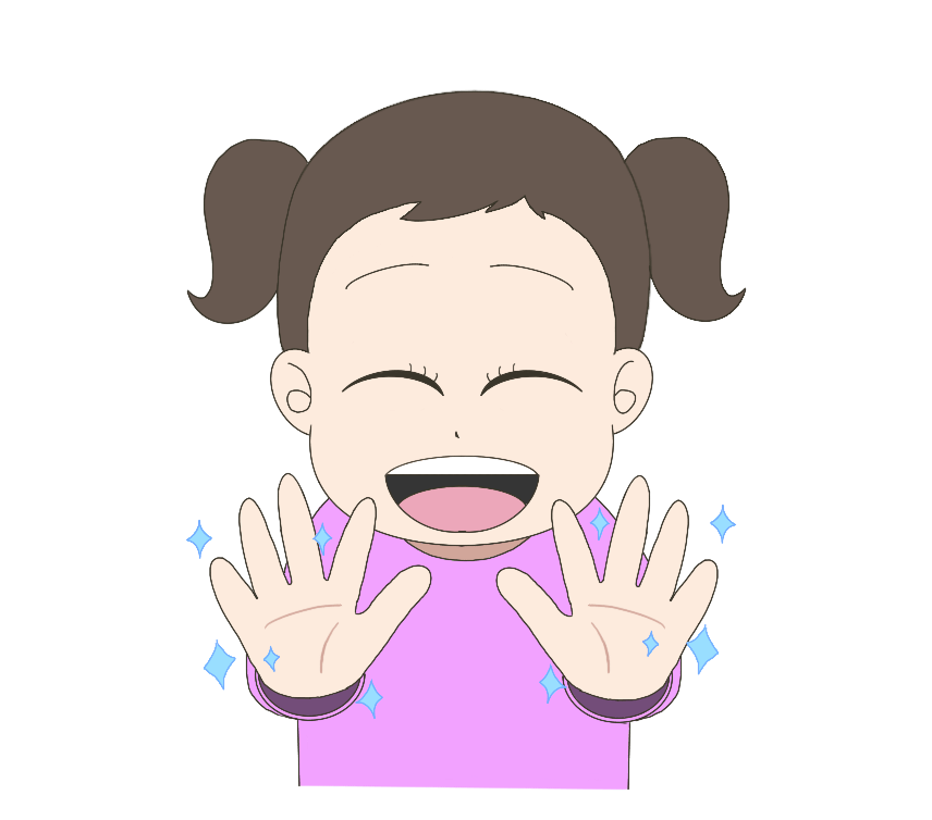 手が綺麗になって喜ぶ子供(女の子)のイラスト