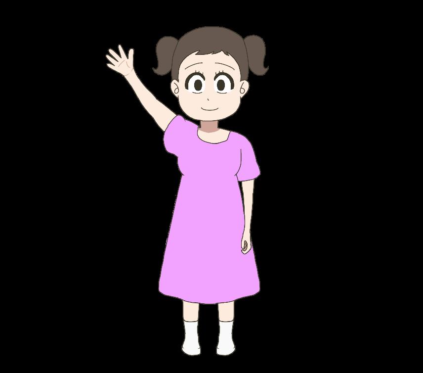 手をあげる子供(女の子、全身)のイラスト
