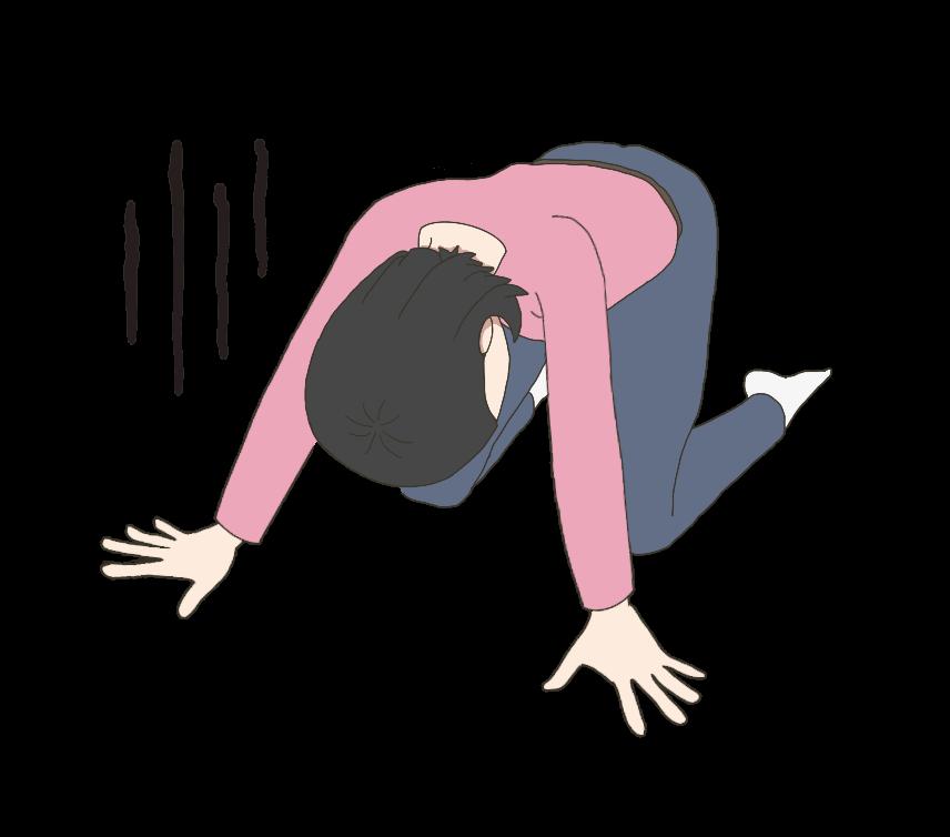手をついて落ち込む女性のイラスト