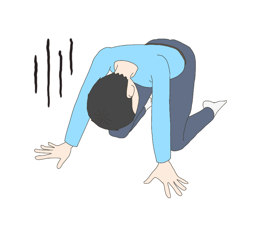 手をついて落ち込む男性のイラスト1