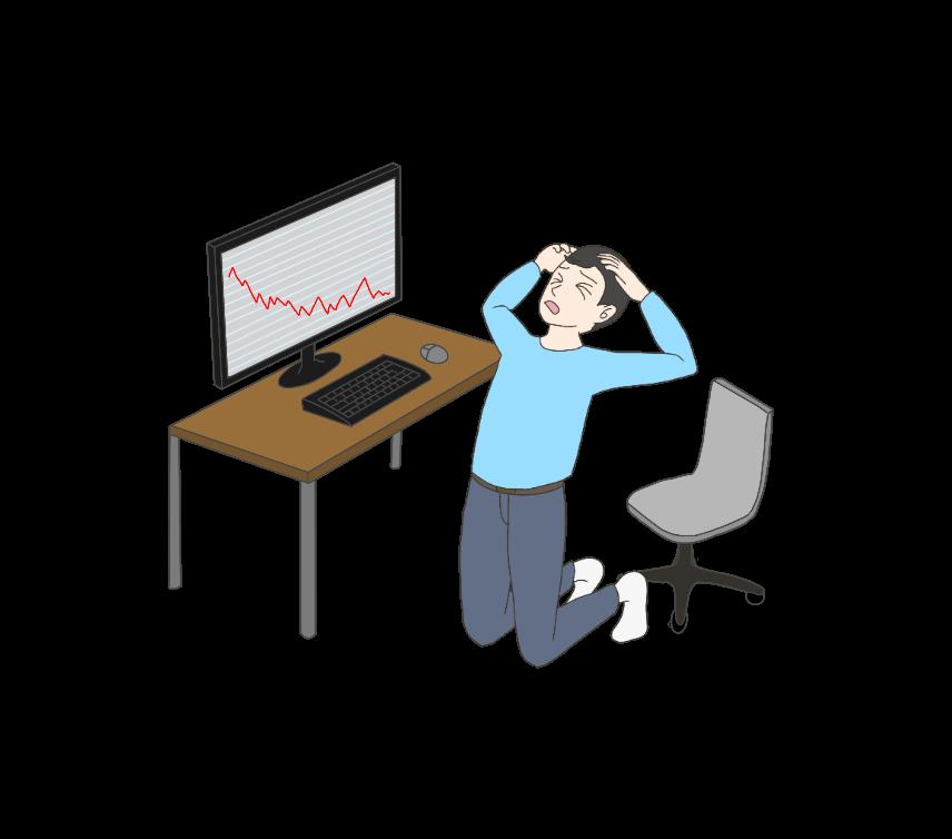 投資で失敗する男性のイラスト