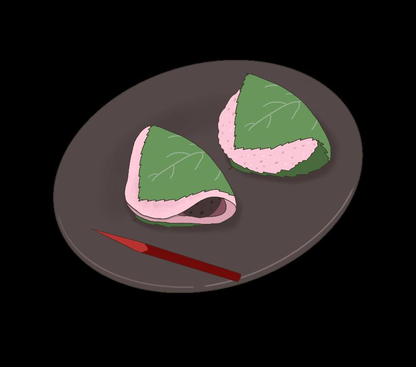 桜餅(長命寺と道明寺)のイラスト