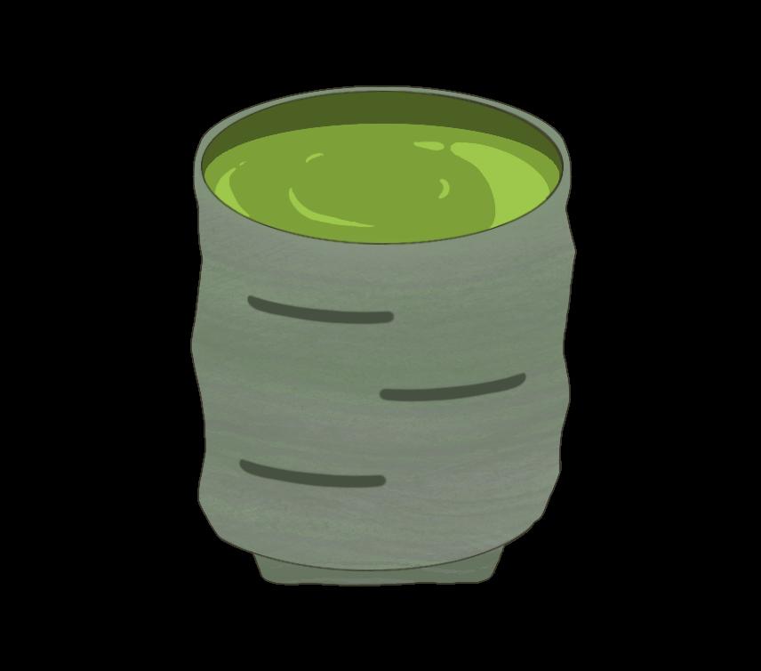 緑茶の入った湯のみのイラスト