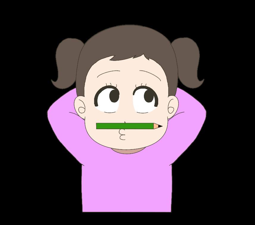鼻と上唇の間に鉛筆を挟む子供(女の子)のイラスト