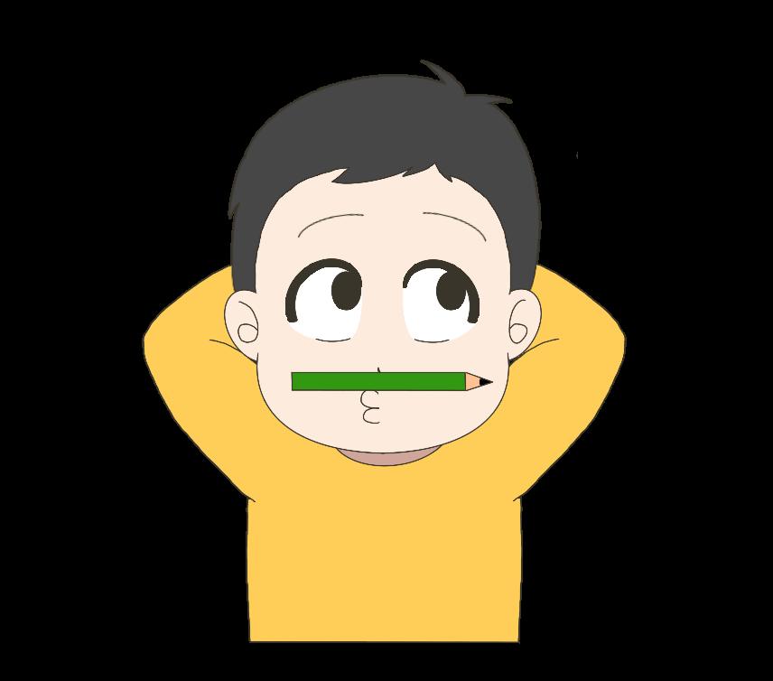 鼻と上唇の間に鉛筆を挟む子供(男の子)のイラスト