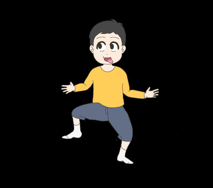 おちゃらけた子供(男の子)のイラスト