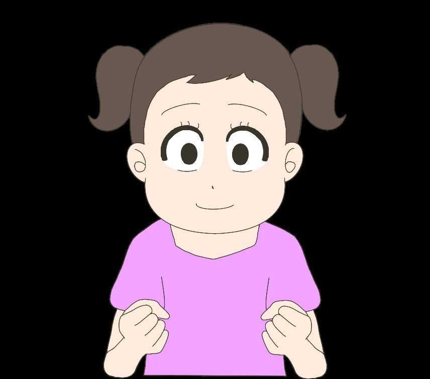 ガッツポーズする子供(女の子)のイラスト