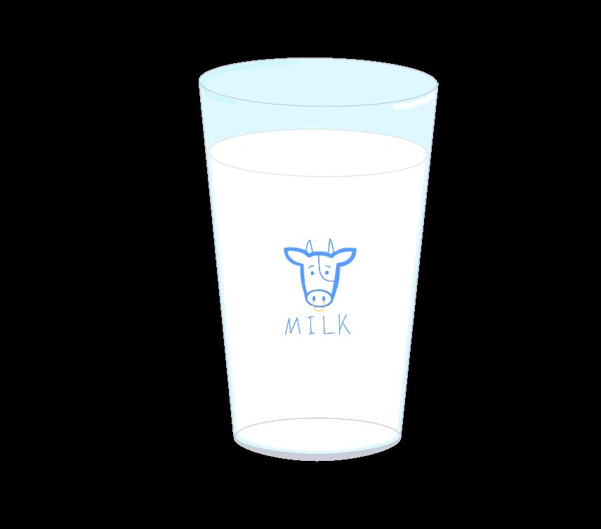 ガラスコップに入った牛乳のイラスト