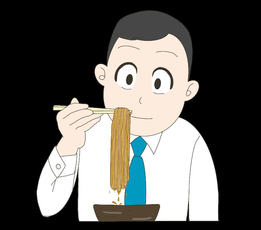 カレーうどんを白シャツで食べる男性のイラスト