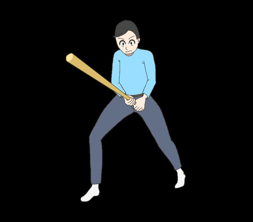 バットを持って応戦する男性のイラスト
