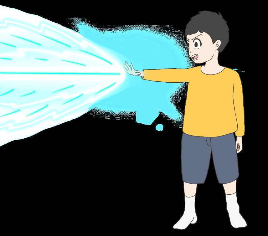 ビームを放つ子供(男の子)のイラスト