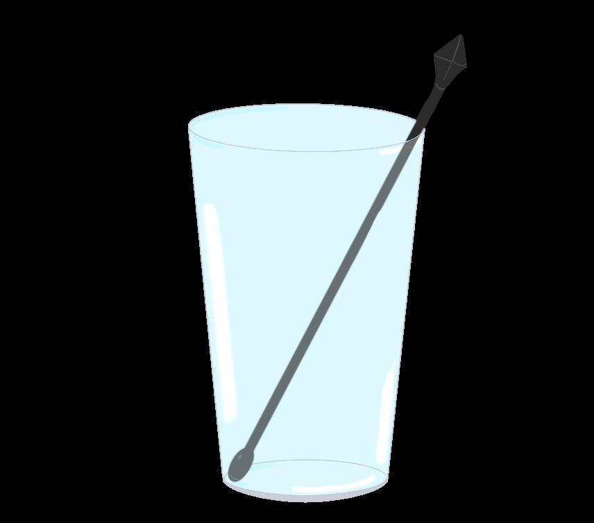 マドラーが入ったガラスコップのイラスト