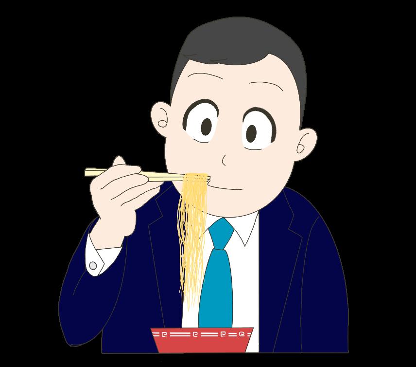ラーメンを食べるサラリーマン(男性)のイラスト