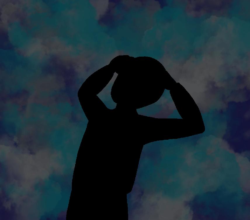 不安に頭を抱える人のイラスト
