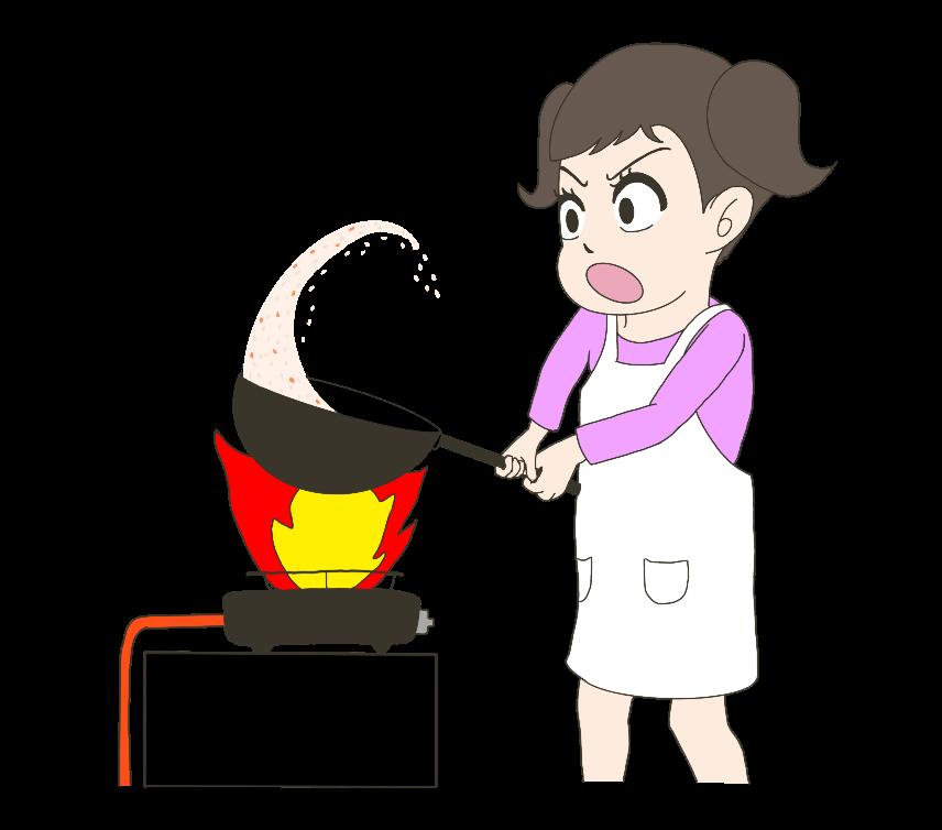 全力で炒飯を作る子供(女の子)のイラスト