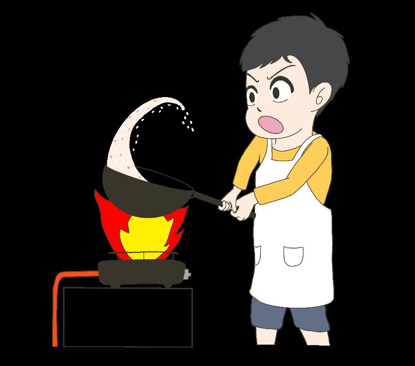 全力で炒飯を作る子供(男の子)のイラスト