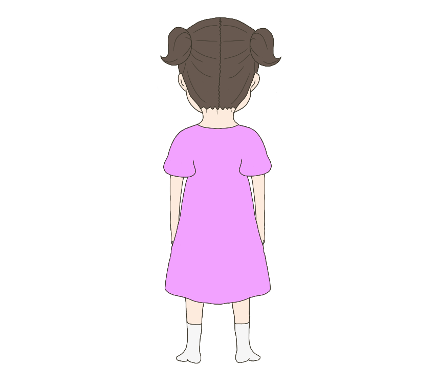 子供の(女の子)後ろ姿のイラスト