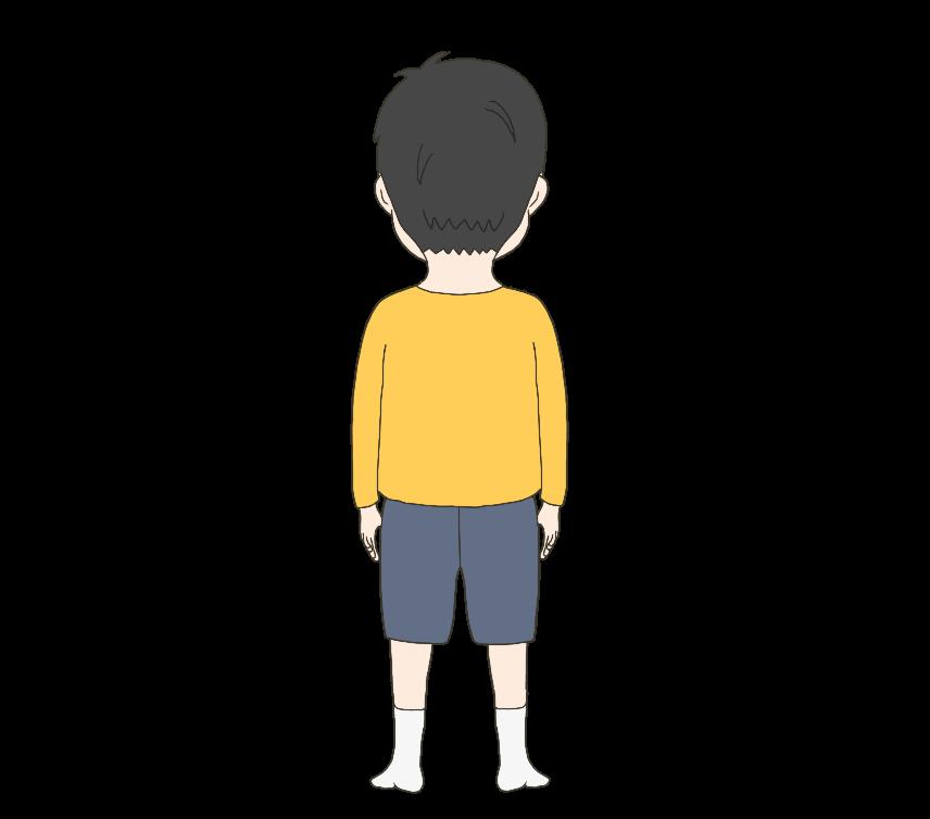 子供の(男の子)後ろ姿のイラスト