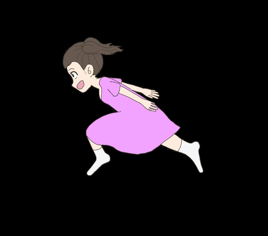 忍者走りする子供(女の子)のイラスト