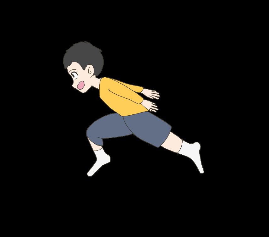 忍者走りする子供(男の子)のイラスト