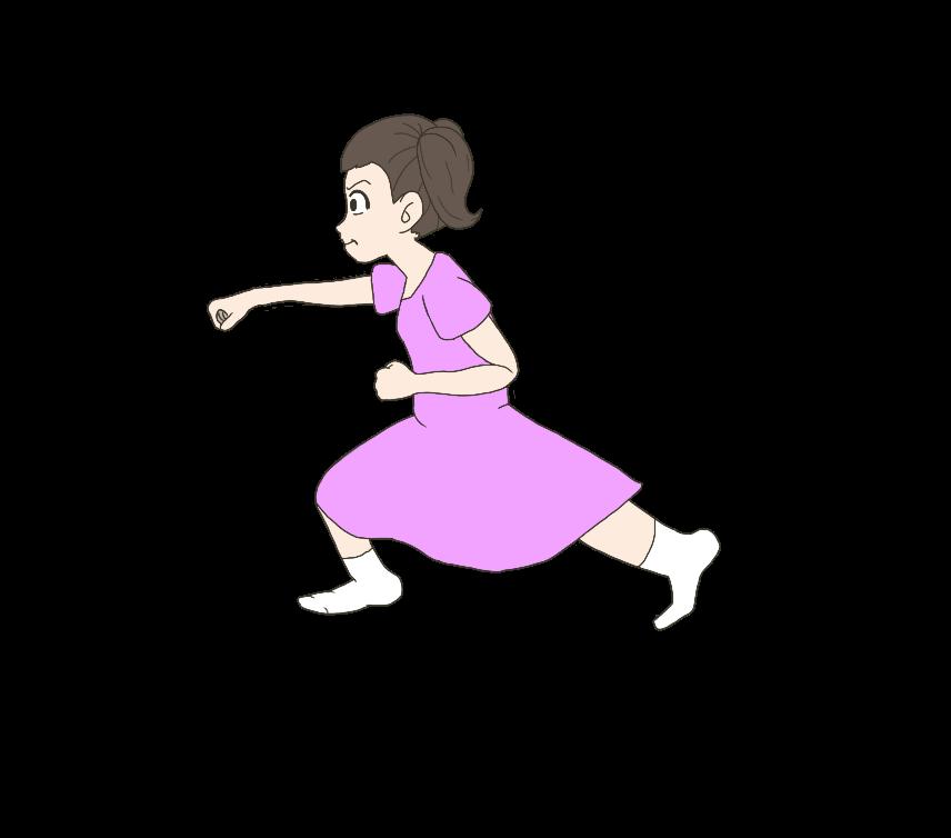 正拳突きをする子供(女の子、横)のイラスト