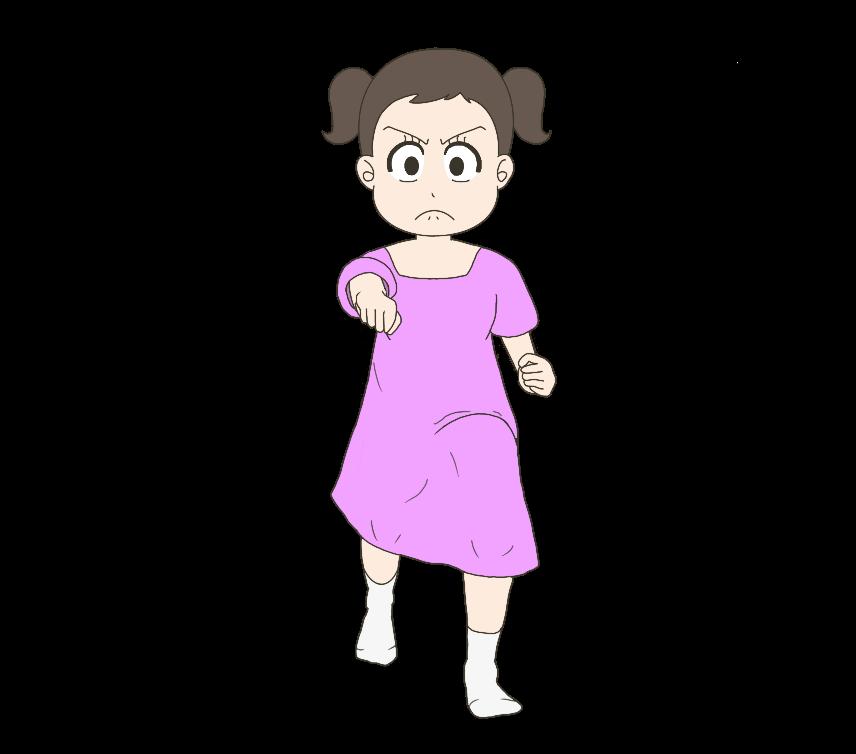 正拳突きをする子供(女の子)のイラスト