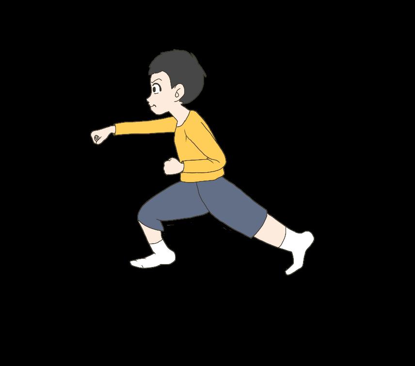 正拳突きをする子供(男の子、横)のイラスト