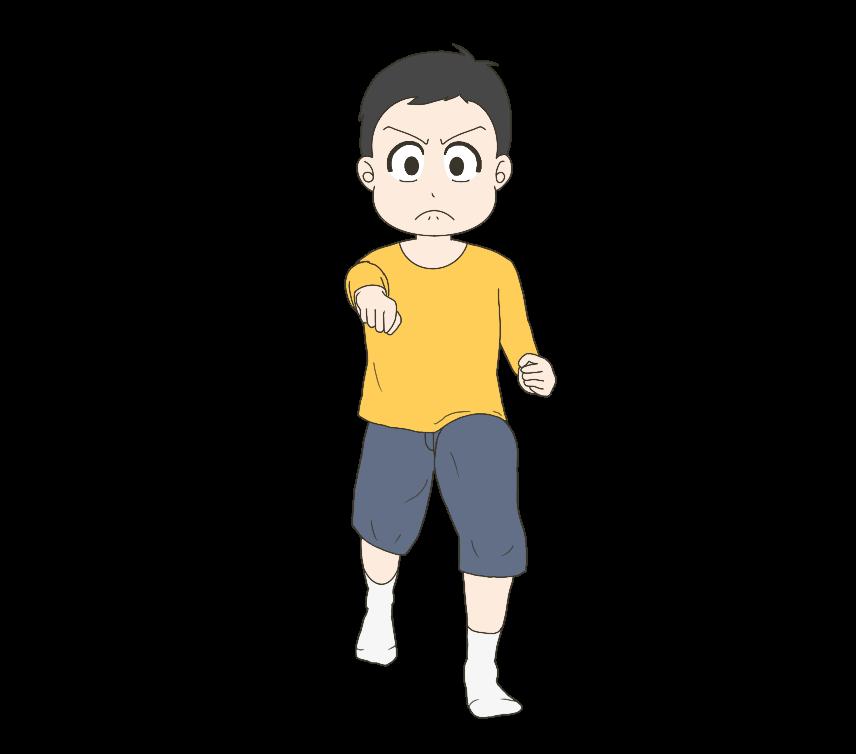 正拳突きをする子供(男の子)のイラスト