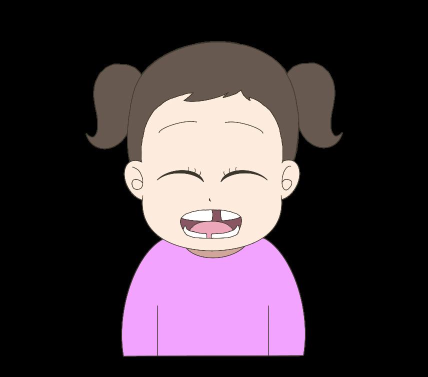 歯が生え変わり途中の子供(女の子)のイラスト