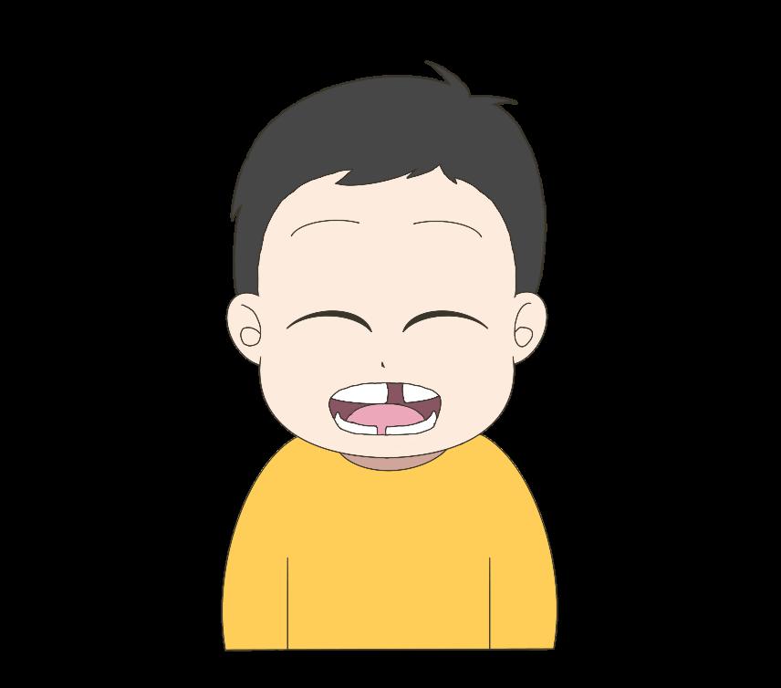 歯が生え変わり途中の子供(男の子)のイラスト