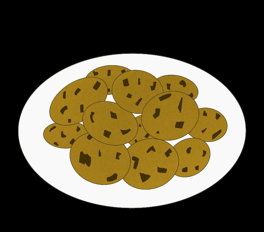 皿に盛られたチョコチップクッキーのイラスト