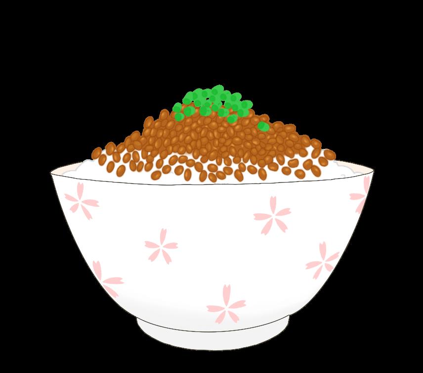 納豆かけご飯のイラスト
