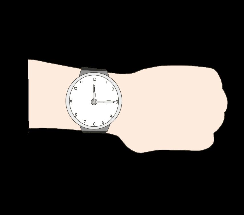 腕時計(アナログ)を付けた腕のイラスト
