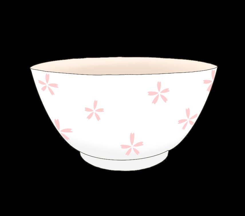 花柄のお茶碗のイラスト