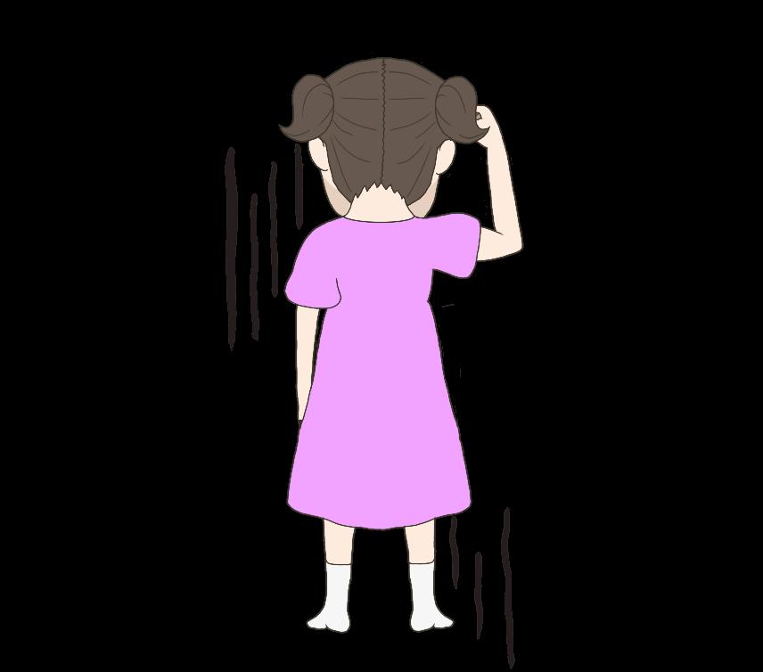 落ち込んだ子供の(女の子)後ろ姿のイラスト