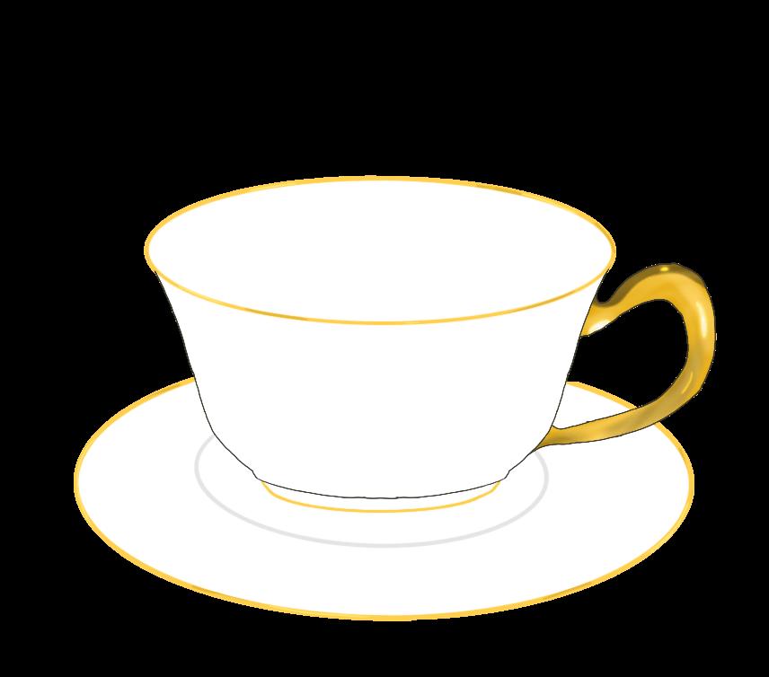 金縁のティーカップのイラスト