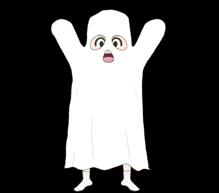 おばけのコスプレをする子供のイラスト