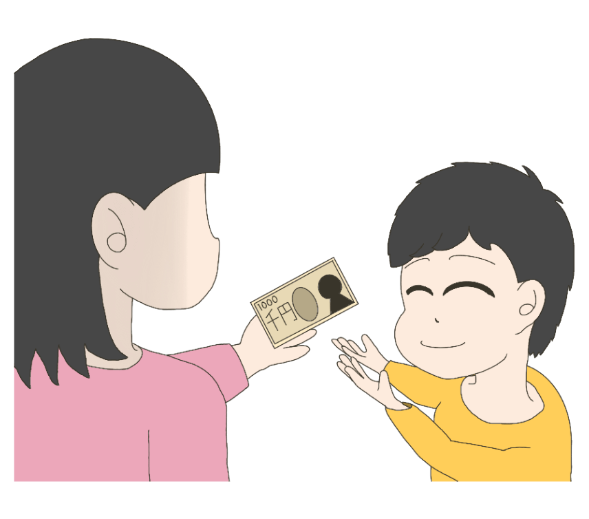 お小遣いを貰う子供(男の子)のイラスト